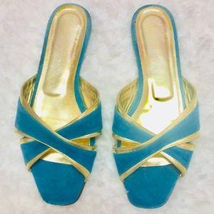 Alejandro Ingelmo Turquoise gold leather flats 8.5